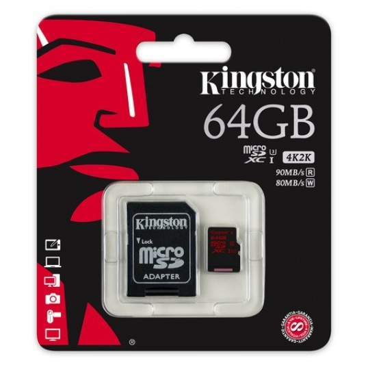 Kingston MicroSDHC/SDXC UHS-I U3 64GB (C/Adaptador)